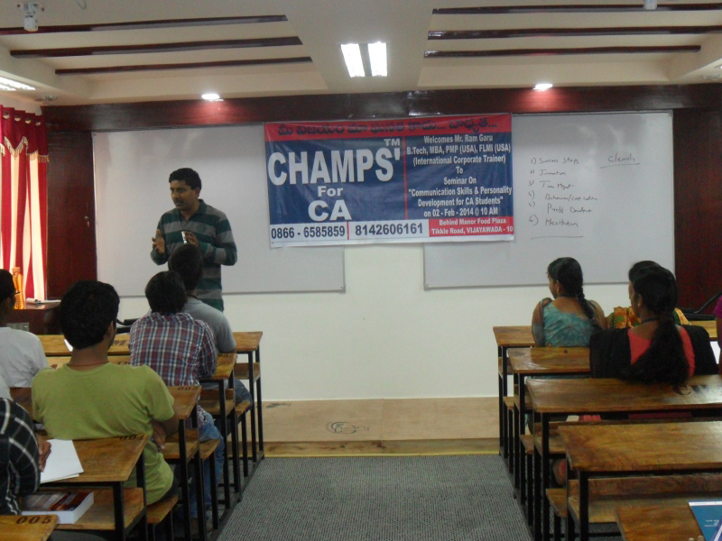 Mr Ravi addressing Students on Communication Skills and Personality Development on 2nd Feb 2014 at CHAMPS'™ Vijayawada